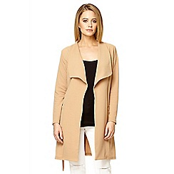 Quiz - Camel crepe waterfall long jacket