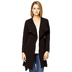Quiz - Black crepe waterfall long jacket