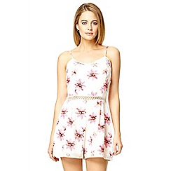 Quiz - White flower print crochet trim playsuit
