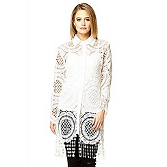 Quiz - White crochet long shirt