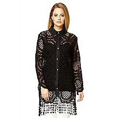 Quiz - Black crochet long shirt