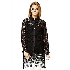 Quiz - Black crochet long shirt