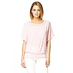 Quiz - Pink lace diamante batwing top