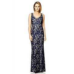Quiz - Navy satin lace split maxi dress