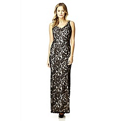 Quiz - Black satin lace split maxi dress