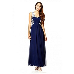 Quiz - Navy embroidered crossover maxi dress