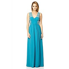 Quiz - Teal embroidered crossover maxi dress