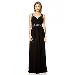 Quiz - Black chiffon v neck sequin maxi dress