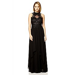 Quiz - Black lace waterfall maxi dress