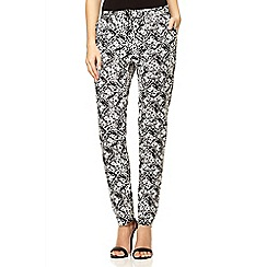 Quiz - Black cotton abstract print trousers