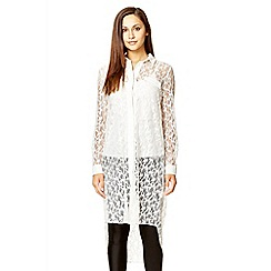 Quiz - Cream lace long sleeve shirt