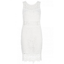 Quiz - Cream lace zip back dress