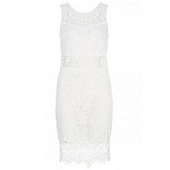 Quiz - Cream lace zip back dress
