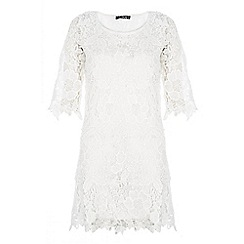 Quiz - White crochet 3/4 sleeve dress
