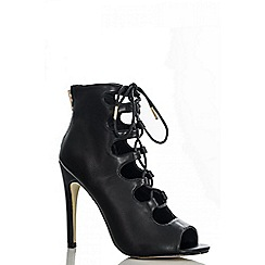Quiz - Black lace up shoe boots