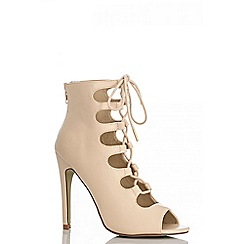 Quiz - Nude lace up shoe boots