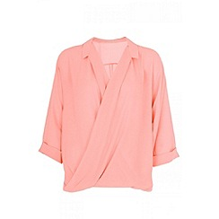 Quiz - Coral chiffon crossover front blouse
