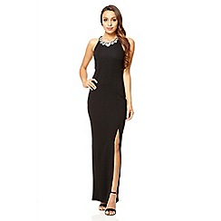 Quiz - Black high neck split front maxi dress