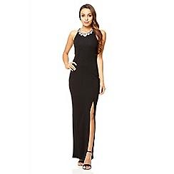 Quiz - Black high neck split front maxi dress