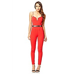 Quiz - Red v neck jumpsuit