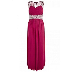 Quiz - Berry chiffon embroidered maxi dress