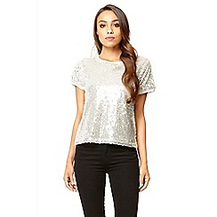Quiz - White sequin box top