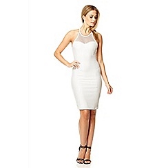 Quiz - Cream textured bodycon dress