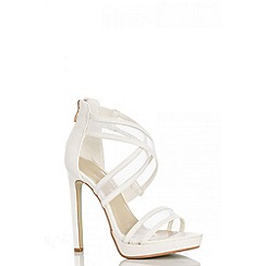 Quiz - White lizard mesh strap sandals