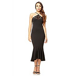 Quiz - Black marcella fishtail bodycon dress