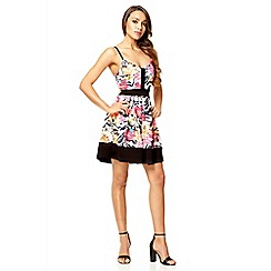 Quiz - Multi colour flower print textured dress