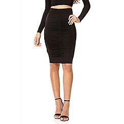 Quiz - Black stretch ruched skirt