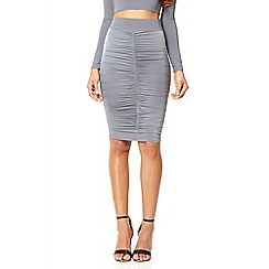 Quiz - Silver stretch ruched skirt