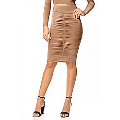 Quiz - Camel stretch ruched skirt
