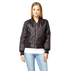 Quiz - Black cuff bomber jacket