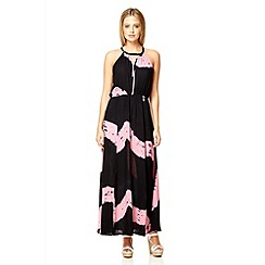 Quiz - Black and pink print maxi dress