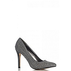 Quiz - Black diamante point court shoes