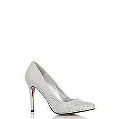 Quiz - Silver diamante point court shoes