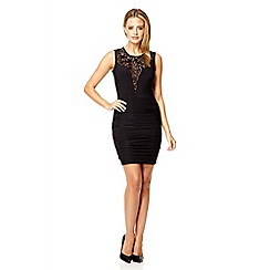 Quiz - Black lace ruched bodycon dress