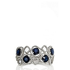 Quiz - Navy square jewel cuff bracelet