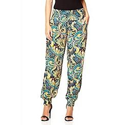 Quiz - Multi coloured paisley print cuff trousers