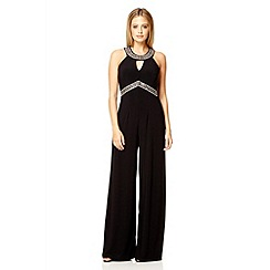 Quiz - Black diamante palazzo jumpsuit