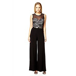 Quiz - Black lace belt palazzo jumpsuit
