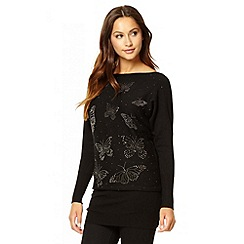 Quiz - Black long sleeve butterfly tunic