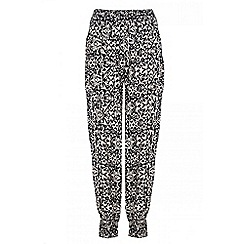 Quiz - Black and stone tribal print trousers