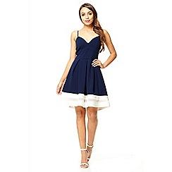 Quiz - Navy strappy skater dress