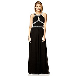 Quiz - Black key hole chiffon diamante maxi