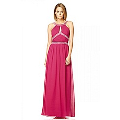 Quiz - Raspberry key hole diamante maxi dress