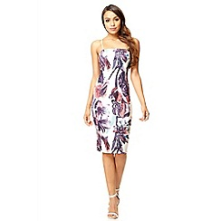 Quiz - Cream flower print bodycon strap dress