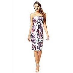 Quiz - Cream flower print bodycon strap dress