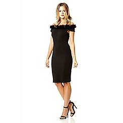 Quiz - Black off shoulder feather dress